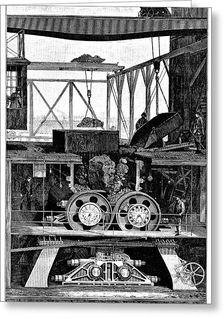 Iron Ore Crusher Greeting Card by Science Photo Library
