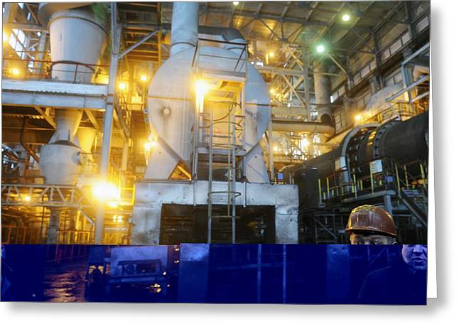 Iron Ore Processing Greeting Card by Science Photo Library