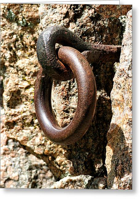 Iron Rings In Stone Greeting Card