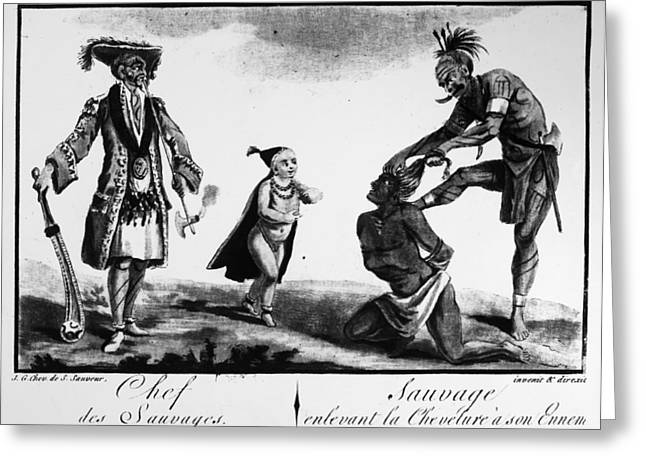 Iroquois Chief And Warrior Greeting Card by Granger