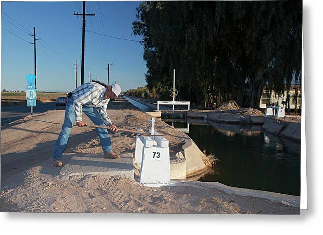 Irrigation Sluice Being Opened Greeting Card by Jim West