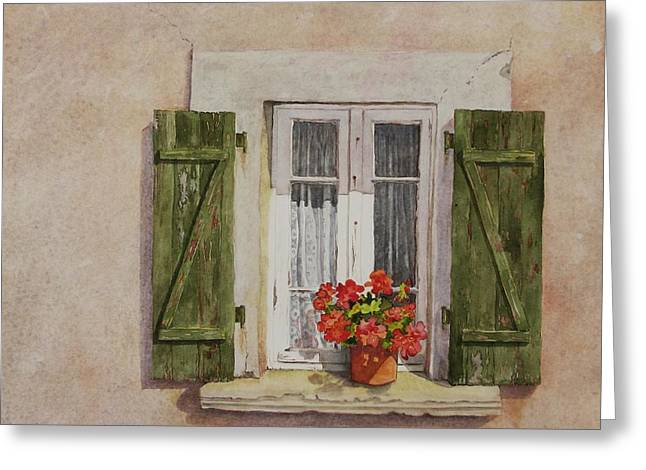 Irvillac Window Greeting Card by Mary Ellen Mueller Legault