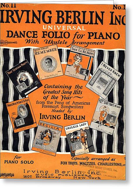 Irving Berlin Dance Folio For Piano Greeting Card by Mel Thompson
