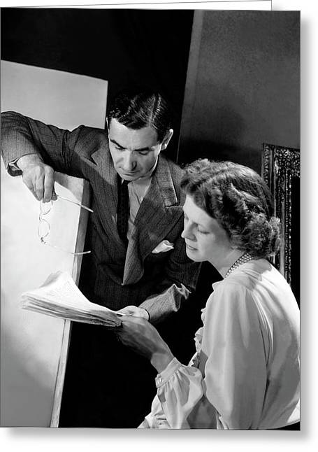 Irving Berlin Looking At Papers With His Wife Greeting Card by Horst P. Horst