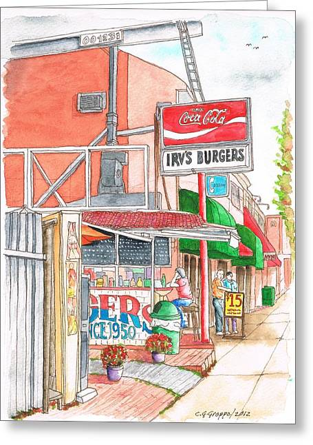 Irv's Burgers In West Hollywood, California Greeting Card