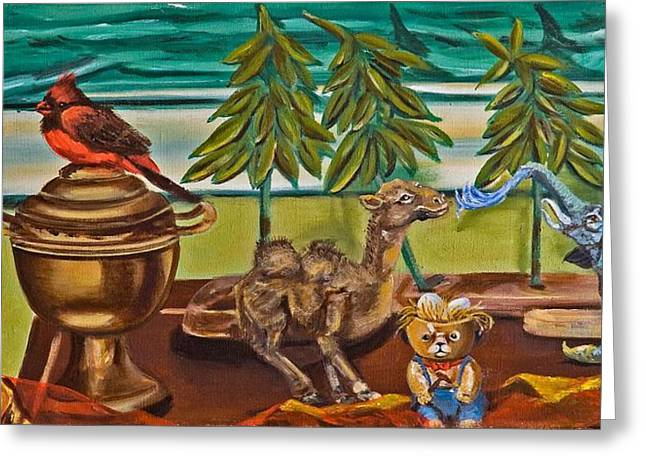 Greeting Card featuring the painting Is It Time For A Shower by Susan Culver