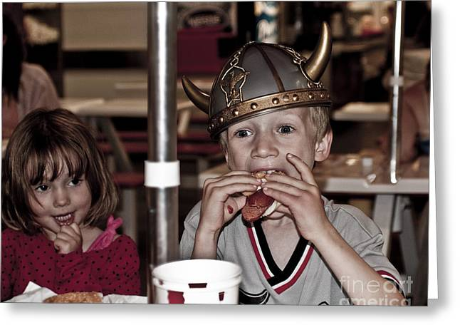 Greeting Card featuring the photograph Is She Adoring Her Viking Or Coveting His Lunch by Sandi Mikuse