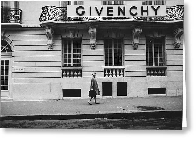 Isabel O'donnell In Front Of Givenchy Greeting Card by Knight Russell