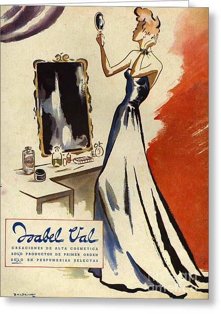 Isabel Val 1942 1940s Spain Cc Mirrors Greeting Card by The Advertising Archives