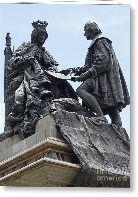 Isabella And Columbus Greeting Card by Phil Banks