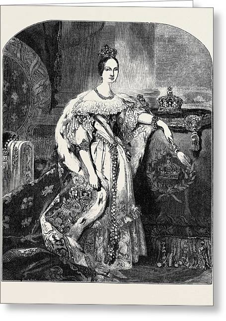 Isabella II., Queen Of Spain Greeting Card by Spanish School