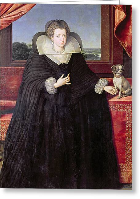 Isabella Of Bourbon 1602-44 Queen Of Spain, 1615-22 Oil On Canvas Greeting Card