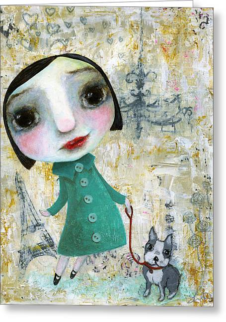Isabelle And Her Dog Greeting Card by Shirley Dawson