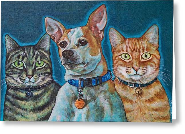 Isabelle Chloe And Ratchett Greeting Card by Beth Clark-McDonal