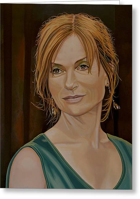 Isabelle Huppert Painting Greeting Card by Paul Meijering