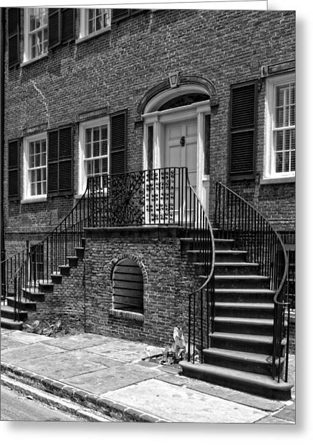 Isaiah Davenport House In Black And White Greeting Card
