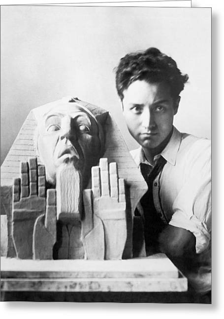 Isamu Noguchi With  Paphnutius Greeting Card by Underwood Archives