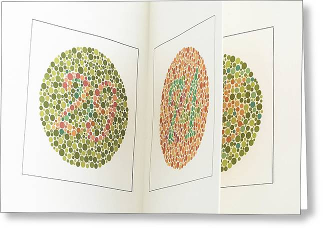 Ishihara Colour Vision Test Charts Greeting Card by Science Photo Library
