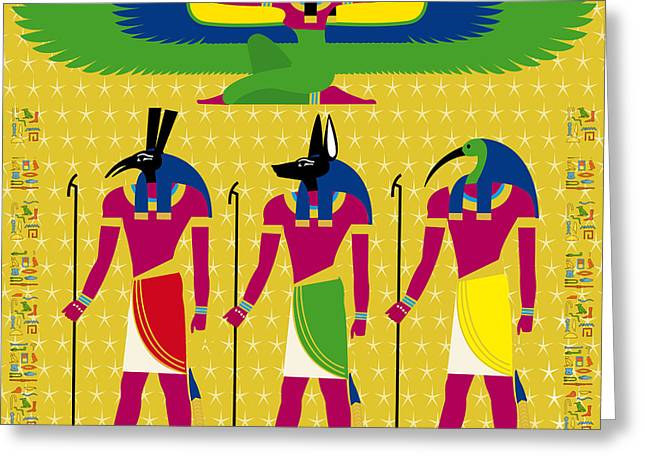 Isis And Eygptian Gods Greeting Card by Neil Finnemore