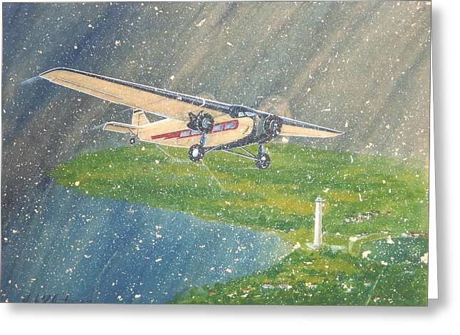 Island Airlines Ford Trimotor Over Put-in-bay In The Winter Greeting Card