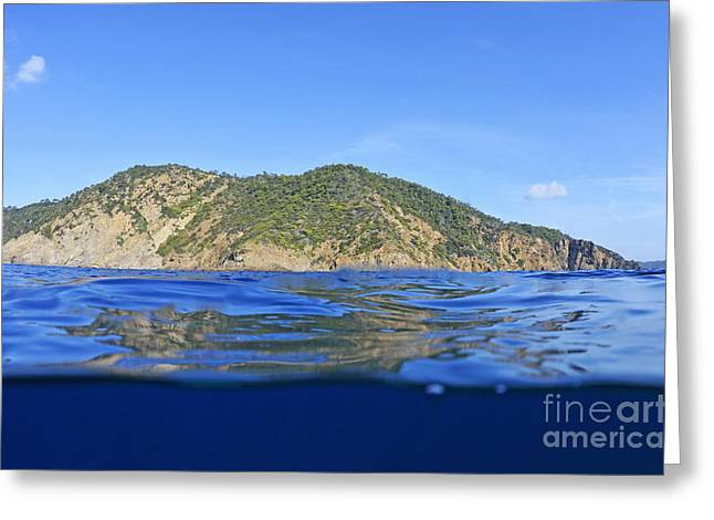 Island And Water Surface Greeting Card by Sami Sarkis