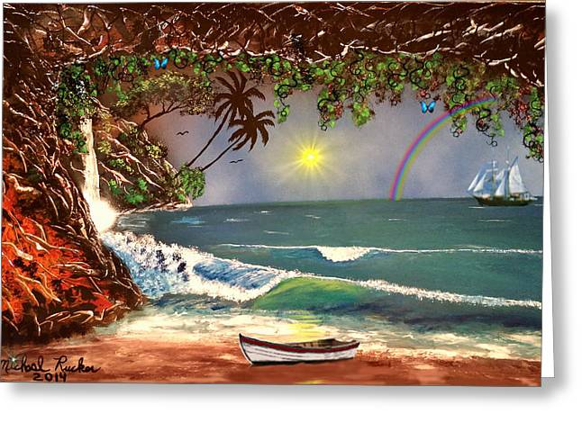 Island Cove Greeting Card by Michael Rucker