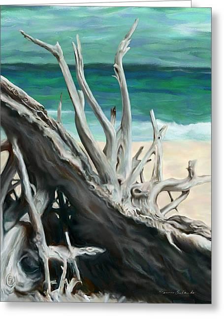 Island Driftwood Greeting Card by Dennis Orlando