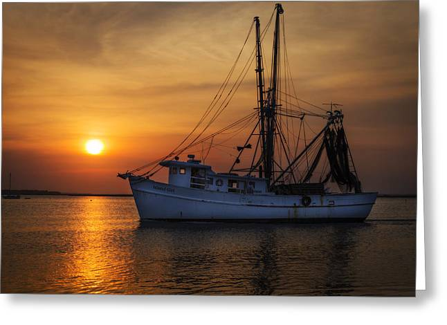 Island Girl Shrimp Boat Greeting Card by  Island Sunrise and Sunsets Pieter Jordaan