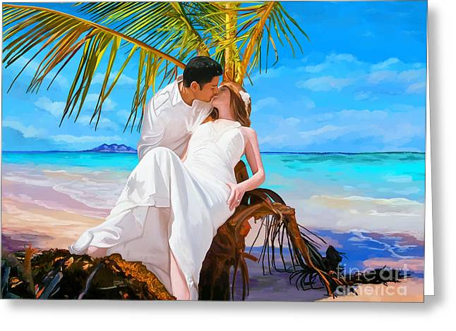 Greeting Card featuring the painting Island Honeymoon by Tim Gilliland