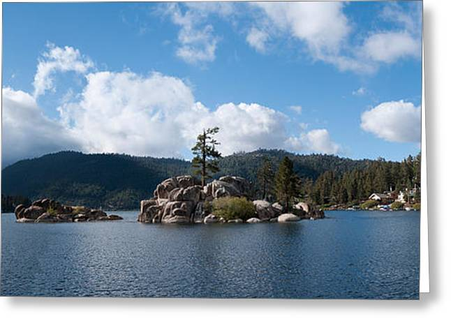 Island In A Lake, Big Bear Lake, San Greeting Card by Panoramic Images