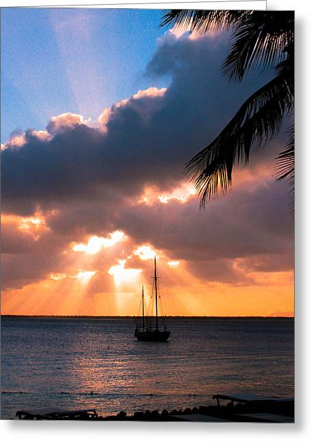 Greeting Card featuring the photograph Island Sunset by Haren Images- Kriss Haren