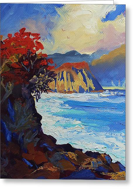 Islands Seascape Original Oil Painting Greeting Card