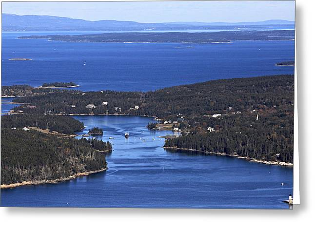Isle Au Haut Harbor Greeting Card by Dave Cleaveland