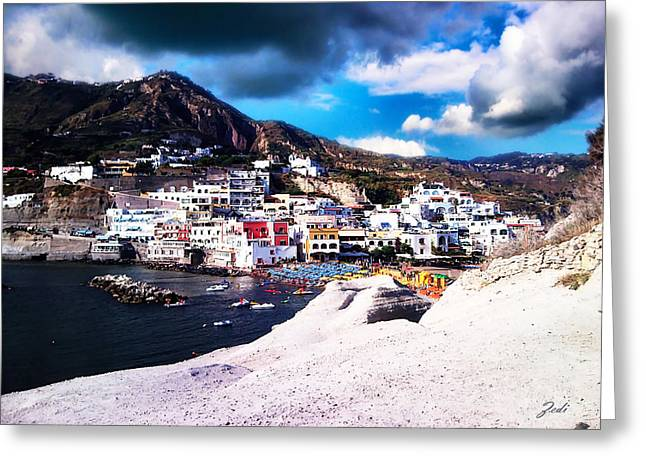 Isola Di Ischia Sant'angelo - The Island Of Ischia Sant'angelo Greeting Card by Ze  Di