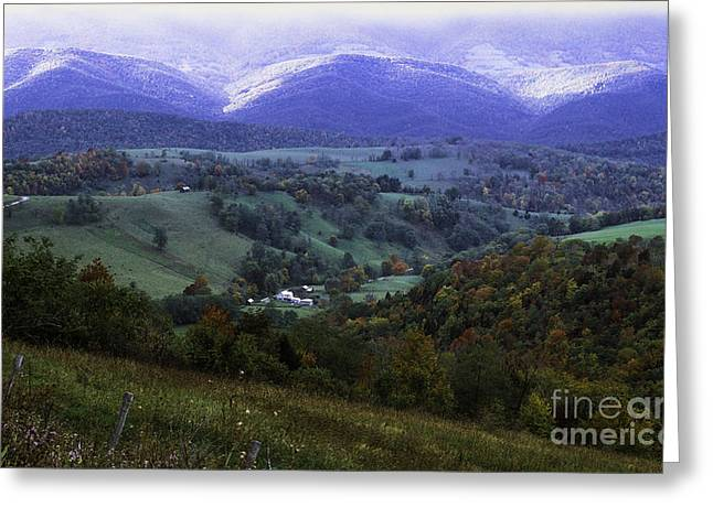 Isolated Farmhouse Mountain Valley Greeting Card