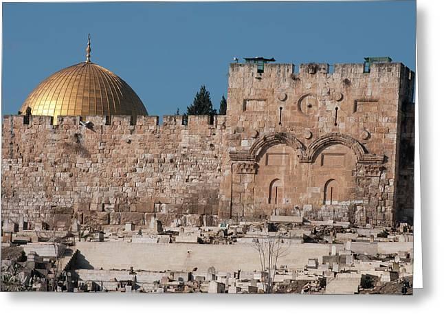 Israel, Jerusalem Dome Of The Rock Greeting Card by Ellen Clark