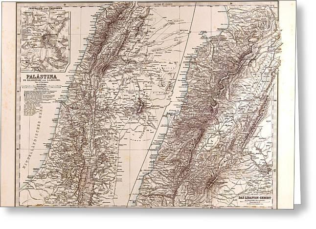 Israel Palestine Jerusalem Map Gotha Justus Perthes 1875 Greeting Card by Israeli School