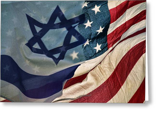Israeli American Flags Greeting Card by Ken Smith