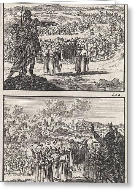 Israelites Over Jordan Fall Of Jericho Biblical Greeting Card by Quint Lox