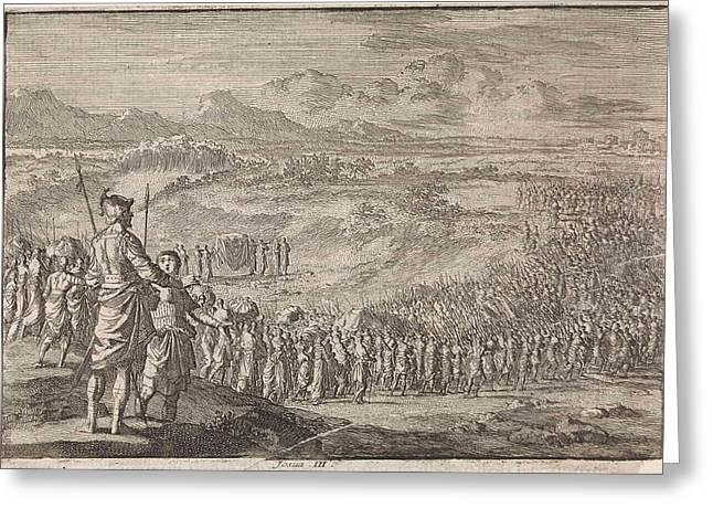 Israelites Pass Through The Dry Jordan, Jan Luyken Greeting Card by Jan Luyken And Pieter Mortier