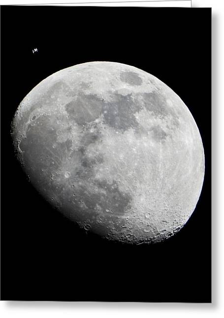 Iss And The Moon Greeting Card by Science Photo Library