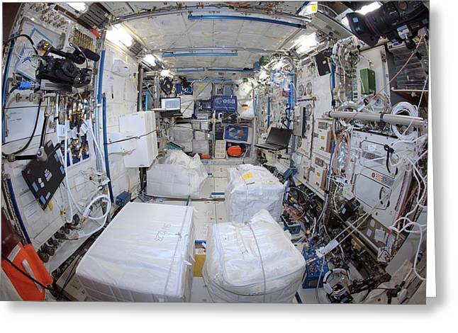 Iss Columbus Module Greeting Card by Esa/nasa