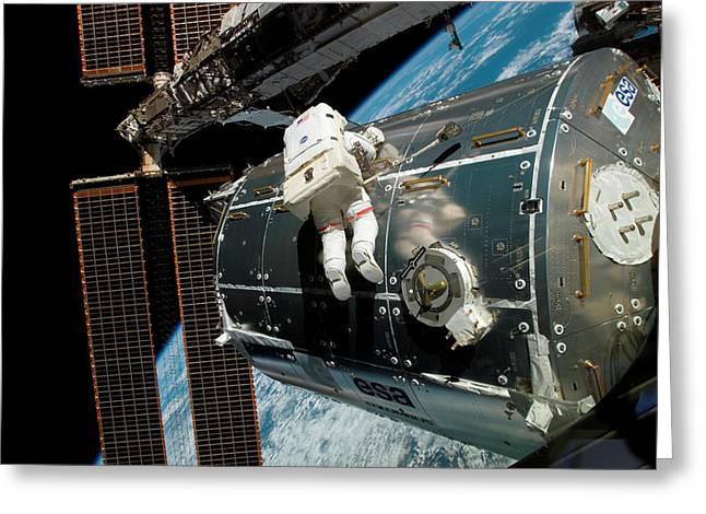 Iss Columbus Module Installation Greeting Card by Nasa