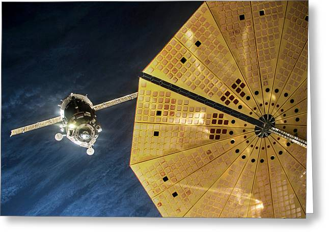 Iss Expedition 46 Approaching Iss Greeting Card