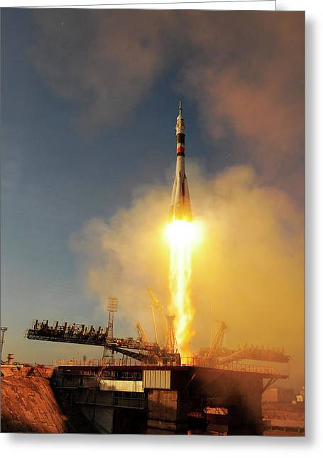 Iss Expedition 46 Launching Greeting Card by Esa�s. Corvaja