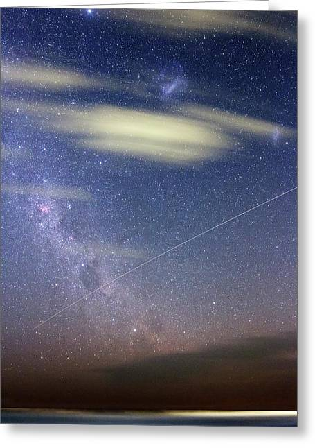 Iss In Southern Hemisphere Skies Greeting Card by Luis Argerich