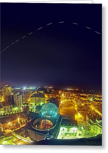 Iss Trail Over The Dali Museum Greeting Card
