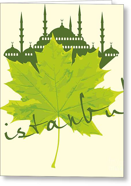 Istanbul City And Sycamore Leaf Vector Greeting Card