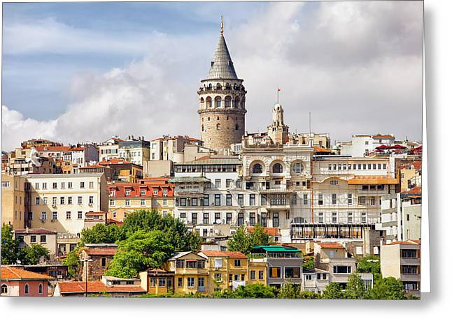 Istanbul Cityscape And Galata Tower Greeting Card by Artur Bogacki