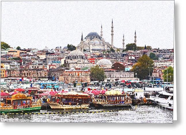 Istanbul Greeting Card by Dia Karanouh